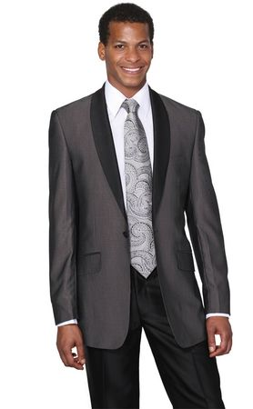 Milano Moda Charcoal Black Two Tone Slim Fit Style Evening Suit 5601 - click to enlarge