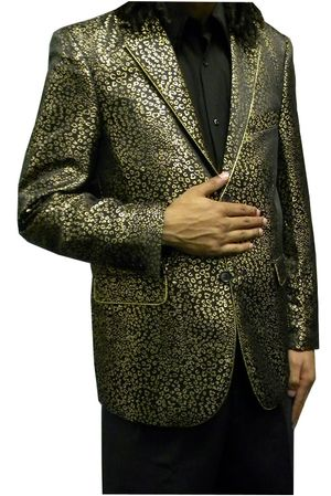 After Midnight Mens Shiny Gold Pattern Vegas Blazer Jacket 5718 Size M Final Sale