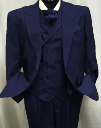 Mens Sapphire Wool Suit Double Breasted Vest Alberto Gadson54