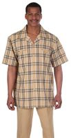 Mens Short Sleeve Walking Suit Gold Plaid Milano 2952
