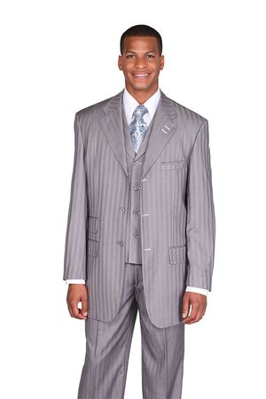 Milano Moda Gray Tone on Tone Stripe  Vested Urban Men Suits 5267V