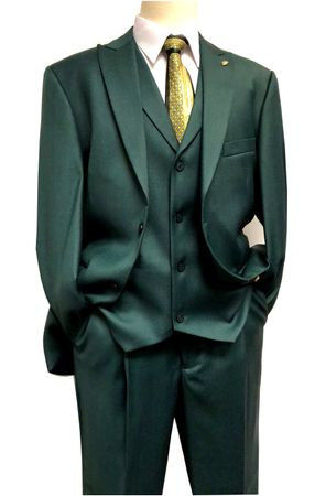 Falcone Fashion Suit Mens Olive Green Silky 3 Piece Pett Vest 5306-103 - click to enlarge