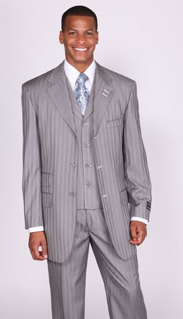 Milano Moda Grey Stripe Lapel Vested Church Suits 5267