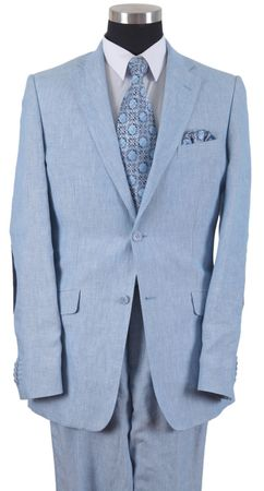 Milano Moda Light Blue Elbow Patch Linen Suits 2 Button 613L