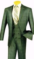 Fancy Vest Mens Suits 3 Piece Olive Green Plaid Vinci NV2RW-7 Size 42 Short Final Sale