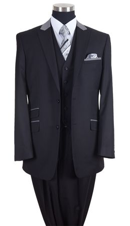 Milano Moda Mens Black Chesterfield Classy 3 Piece Suit 57023 - click to enlarge