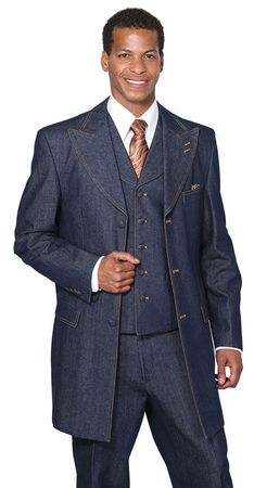 Milano Moda Mens Blue Jean High Fashion Suit 5285 - click to enlarge