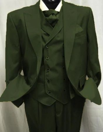 Mens Hunter Green Wool Suit Double Breasted Vest Alberto Gadson54