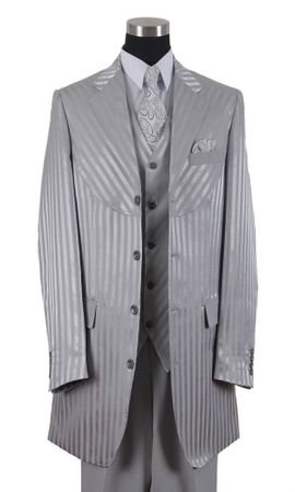 Milano Moda Silver Shiny Stripe Urban Fashion Suit 2915