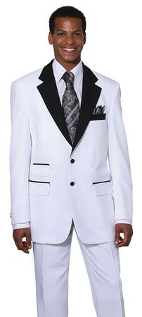 Men's Tuxedos White with Black Collar Jacket Tux Milano 7022 - click to enlarge
