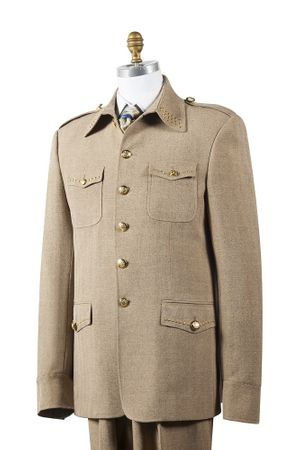 Canto Mens Taupe Nailshead Military Pocket Suit 8392
