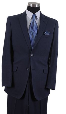 Mens Navy Linen Suit 2 Button Jacket Milano 613L