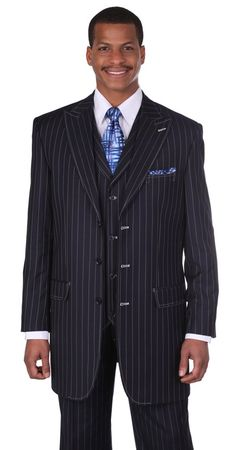 Milano Moda Navy Full Cut Striped Vested Urban Men Suits 5903V