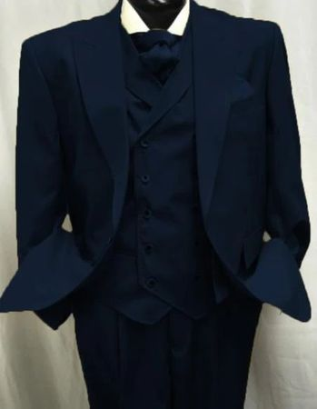 Mens Navy Wool Suit Double Breasted Vest Alberto Gadson54