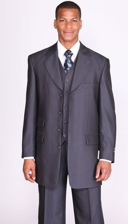 Milano Moda Navy Herringbone Vested Church Suits 2913V