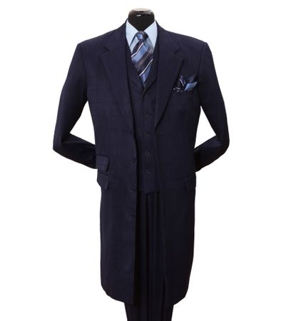 Milano Moda Navy Tone on Tone 3 Piece Full Length Suits 906V Size 44R Final Sale