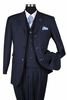 Milano Moda Navy Tone on Tone Stripe  Vested Urban Men Suits 5267V