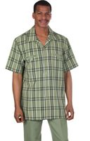 Milano Moda Olive Plaid Short Sleeve Walking Suits 2952