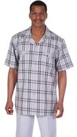 Milano Moda Silver Plaid Short Sleeve Walking Suits 2952