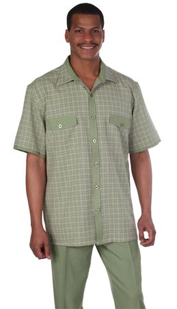 Mens Leisure Suits Outfit Olive Plaid Short Sleeve Milano 2953