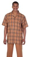 Mens Short Sleeve Walking Suit Rust Plaid Milano 2952