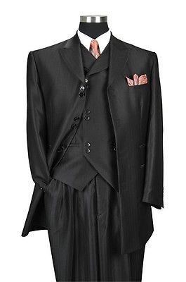 Milano Moda Shiny Black 3/4 Length Fashion Suits 5264V