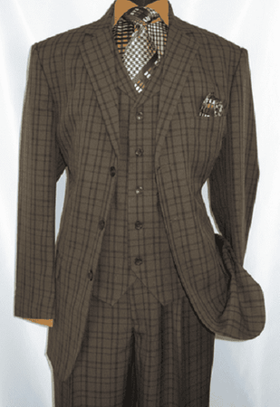 3 Button 3 Piece Suit Mens Brown Plaid 1920s Fortino 5802V6 Size 42R Final Sale