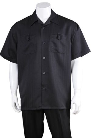 Summer Walking Suits Mens Black Short Sleeve Outfit M2963 - click to enlarge
