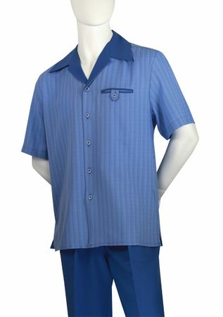 Jazz Mens Blue Stripe Short Sleeve Casual Walking Suits 5STS-1