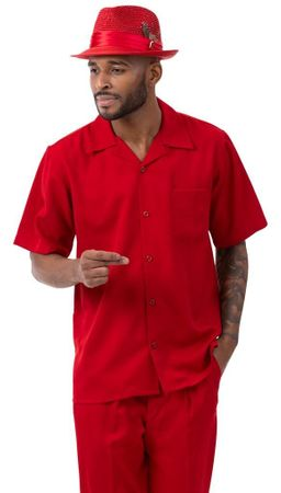 Montique Walking Suit Short Sleeve Red Outfit 696
