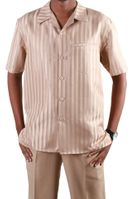 Jazz Almond Stripe Short Sleeve Casual Sets PLTT-3