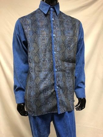 Pronti Walking Suit Blue Corduroy Outfit Snake Print SP4355 - click to enlarge