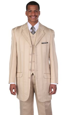 Milano Moda Tan Fashion Stripe Lapel Vested Church Suits 28352