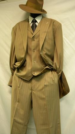 Mens Zoot Suits by Milano Tan White Gangster Bold Stripe 3 Piece 5903V - click to enlarge