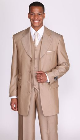 Milano Moda Tan Herringbone Vested Church Suits 2913V