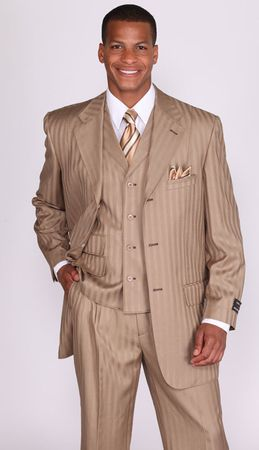 Milano Moda Tan Stripe Lapel Vested Church Suits 5267