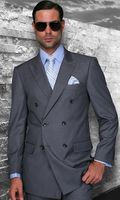 Mens Statement Fine Wool Charcoal Double Breasted Suits TZD-100 Size 48 Reg Final Sale