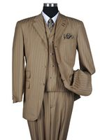 Milano Moda Tan Tone on Tone Stripe  Vested Urban Men Suits 5267V