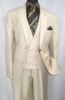 Falcone Mens Cream Maser Vested 1920s Style Fashion Suit 5492-008 OS