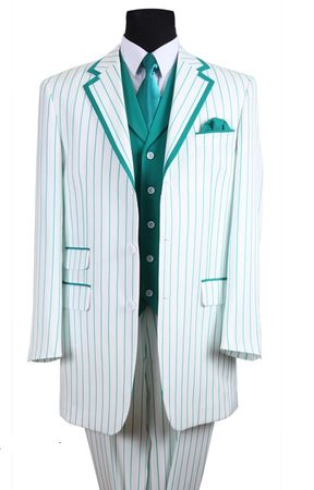 Zoot Suits Mens White with Turquoise Stripe 3 Piece Milano Fortino 5908V