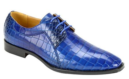 Cerrelli Mens Bright Blue Gator Texture Dress Shoes 6693