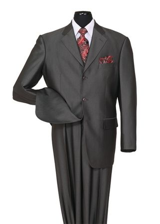 Black Sharkskin Suits by Milano Mens Shiny 3 Button 58025 - click to enlarge