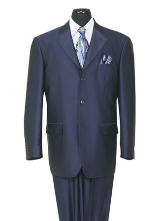 Sharkskin Suits by Milano Mens Shiny Navy 3 Button 58025 - click to enlarge
