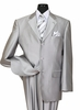 Sharkskin Suits by Milano Mens Shiny Silver 3 Button 58025