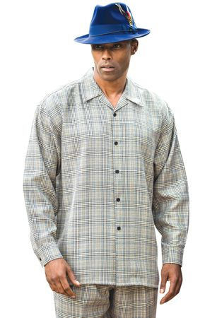 Montique Big Mens Walking Suits Blue Silver Plaid 1130X Size 5XL