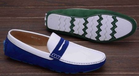 Montique Royal and White Penny Driving Shoes S-06 IS
