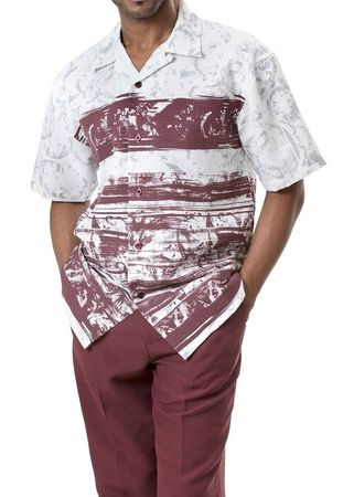 Montique Burgundy Pattern Mens Fashion Set 628 IS - click to enlarge