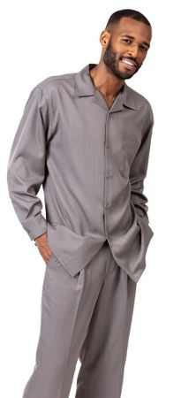 Montique Gray Long Sleeve Walking Suit for Men 1641