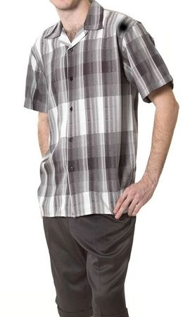 Montique Black Plaid Mens Short Set 745 Size M/33