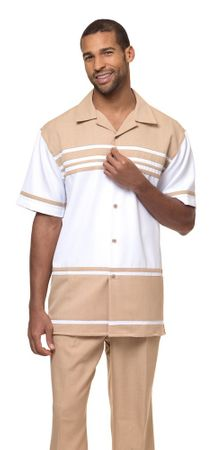 Montique Leisure Suit Mens Beige White Short Sleeve Walking Outfit 1878 - click to enlarge